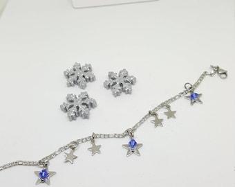 """Bracelet argenté """" ETOILES DES NEIGES"""""""