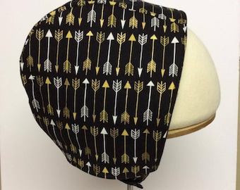 Fleece lined baby bonnet, black with gold arrows 18-24 months