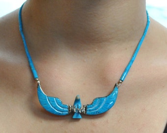 Turquoise eagle necklace vintage
