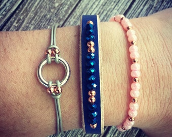 Navy, silver and rose trio.