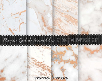 Marble digital paper - Rose gold marble paper - Marble background gold - Modern background - Marble pattern - Planner paper - Rose gold