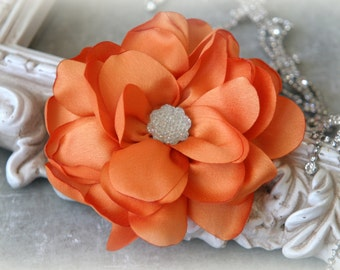 Tresors Orange Satin Flowers with Decorative Center, for Headbands, Clothing, Sashes, Crafting, 4 inches across, FL-318