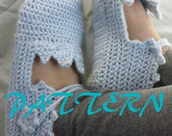 Frozen Elsa Snow Queen Inspired Crochet Slippers PATTERN Size Baby to Adult