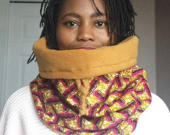 Pink winter scarf - African print winter scarf - tribal scarf - Chunky scarf - snood - winter scarf - African scarf - foulard d'hiver en wax