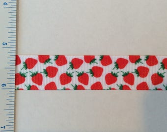 "Strawberries in red green grosgrain ribbon 7/8"""