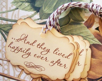 Wedding Tags - Wedding Gift Tags - Fairy Tale Wedding Tags - Happily Ever After Party Favor Treat Bag Tags TL002