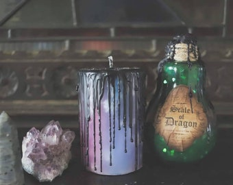 Galaxy candle, nebula candle, starry night candle, atmospheric ritual candle, hand  poured purple pillar candle, night sky, aurora borealis