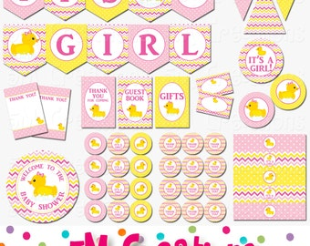 Rubber Ducky Baby Shower Decorations - Rubber Duck Baby Shower Printables  -Girl Pink Rubber Duck Birthday Party Banner INSTANT DOWNLOAD Pdf