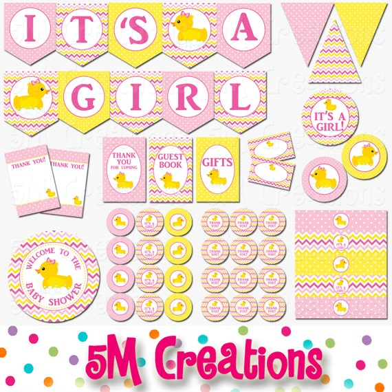 Rubber Ducky Baby Shower Decorations   Rubber Duck Baby Shower Printables   Girl Pink Rubber Duck Birthday Party Banner INSTANT DOWNLOAD Pdf