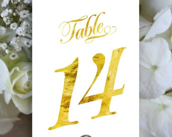 Printable Table Numbers 1 to 40, Gold Table Number, Script Table Number,  Downloadable, Print it yourself.