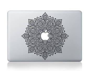 Macbook 13 inch decal sticker Black magic flower kaleidoscope for Apple Laptop
