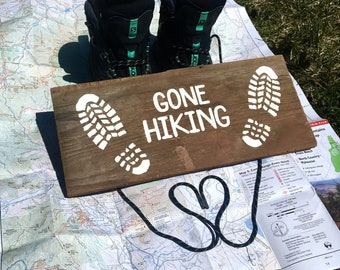 Gone Hiking Bootprint Sign - Hiking, Mountains, Outside, Hiking Boot, Mountaineering, Nature, Decor, Rustic, Farmhouse, Outdoors