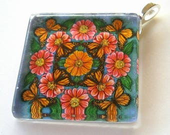 Monarch Butterflies and Pink Zinnias Art Glass Pendant Flower Butterfly Jewelry