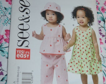 See and Sew 5629  Infants Top Dress Panties Pants  and Hat Sewing Pattern - Size NB-S - M - L