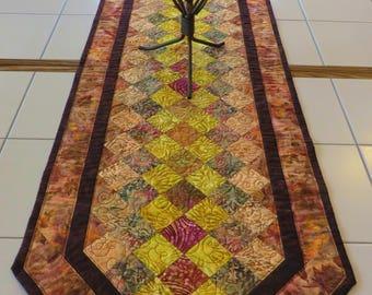 Quilted batik tablerunner fall colors