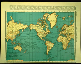 Vintage world map Etsy
