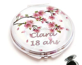 Pocket mirror, resin cabochon in blushing bride, first name + age