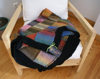 Gypsy - Boho knitted handmade wool quilt-Boho wool afghan-Boho knitted throw-Boho knitted quilt-Boho knitted wool bed cover