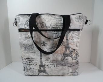 Handmade computer tote bag, quilted Paris print with 2 large padded zippered sections