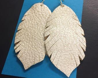 Leather Feather Earrings, Fringe Leather Earrings