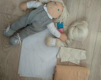 Waldorf doll kit. Steiner doll kit. Montessori doll kit. Rag doll kit. 19 inch doll. 48 cm doll. 19 inch waldorf doll. 48 cm waldorf doll.