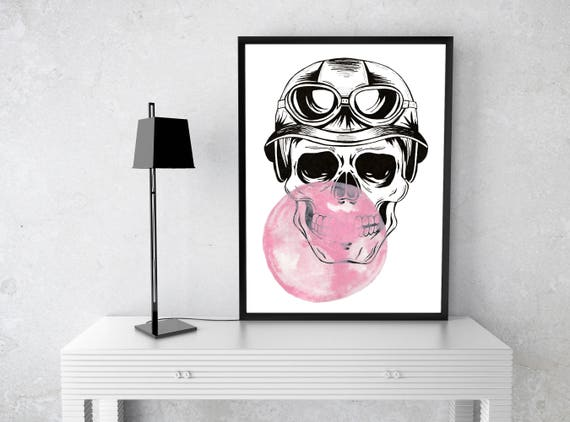 Aviator Sugar Skull with bubble gum balloon | Paper Poster | Wall art decor | Ink and watercolor painting | ZuskaArt