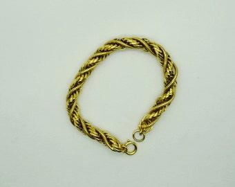 Vintage Gold Tone Twist Bracelet Fashion Bracelet, Rope Bracelet Fashion Jewelry