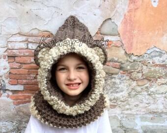 Crochet Bear Hooded cowl hat.Bear hat.