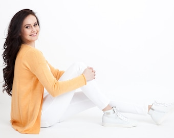 SALE 55% OFF/ Merino wool sweater Orange/ merino wool jacket/ sweater jacket/ Knit sweater/ knitted merino wool sweater/