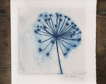 Flower in the wind Large Original Etching, Dandelion, blue flower