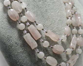 Pink Quartz Natural Gemstone Jewelry Beaded Very Long Statement Funky Crystal Necklace Genuine Stone Pale Pink Rose Quartz Art Deco Necklace