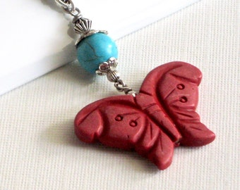 Red Butterfly Necklace - Turquoise Necklace,  Nature Jewelry, Butterfly Jewelry