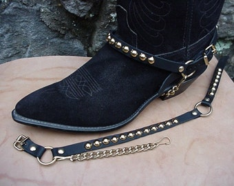 Western Boots BOOT CHAINS BLACK Leather W Gold Studs Bp