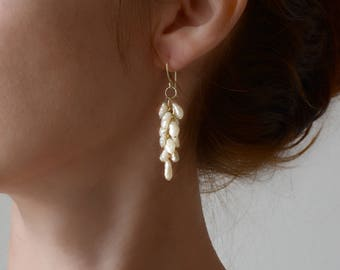 585 gold cluster pearl earrings, birdial white pearl earrings, dungle pearl earrings, wedding jewelry,