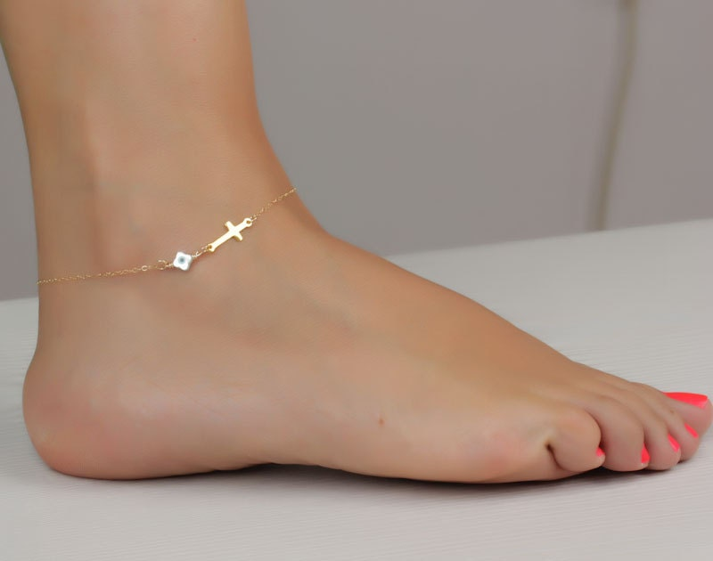 filled ankle two initial anklet gold bracelet skirt filed disc set personalized by and pin layered bar
