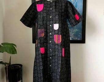 "Vintage Marimekko Dress Finland / Size 40 but fits up to Large XL / ""Glada Rocken"" Happy Coat"