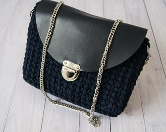 Navy Fashion Crochet Crossbody Bag with Eco Leather Lid Designer Handbag Crossbody Bag for Women Cross body Purse Clutch