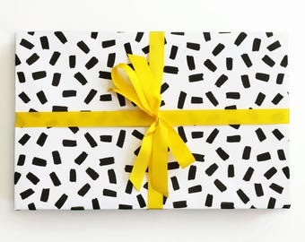 Black and White Gift Wrap Confetti Brush Stroke Wrapping Paper Hand Drawn Wholesale Wrapping Paper Rolls Birthday Gift Wrap Sheets
