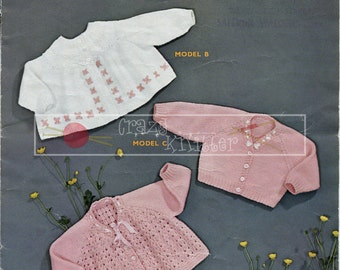 Baby Matinee Coats and Cardigan 0-3 month DK Sirdar 226 Vintage Knitting Pattern PDF instant download