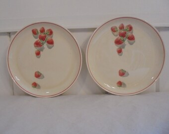 Rare Cavitt Shaw Division W.S. George Shortcake Pattern Strawberry Design 7 Inch Salad Plates 1940's Era Strawberry Dishes Set of Two