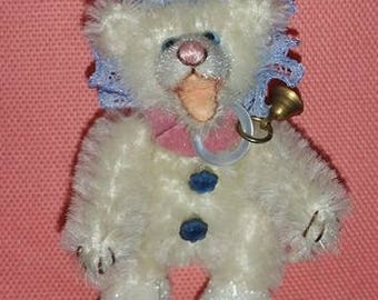 "Miniatuur teddybeer-Mini Bear - Artist Beer-mohair Beer-Open mond teddybeer-Collector Bear-witte Mohair-miniaturen-Dollhouse - 2 1/4 """