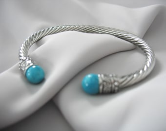 Bangle Cuff Bracelet, Twisted Cable cuff, Ball Finial Ends, Tribal, Faux Turquoise, Blue and Silver, Ball Accents 1980s