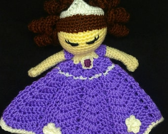 Princess Sofia, Disney Lovey, Princess Lovey, Security Blanket, Lovey Doll, Baby Blanket, Newborn Gift, Baby Shower Gift, Baby Girl Lovey