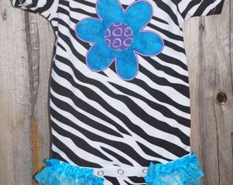 Zebra Print Onesie w/ Teal & Purple Flower and Ruffle legs