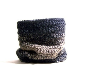 Crochet Tube Scarf - Neck Warmer - Charcoal And Taupe