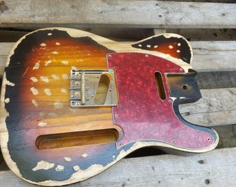 Canadian Red Pine Heavy Relic sunburst Vintage Tele body fits oem nitrocellouse finish vintage telecaster guitar body