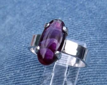 Purple Paua Shell Set in Sterling Silver Ring
