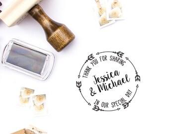 Custom Rubber Stamp, Wedding Thank You, DIY Wedding, Wedding Favors, Save The Dates, Boho Wedding. Custom Stamp 2x2 - W16