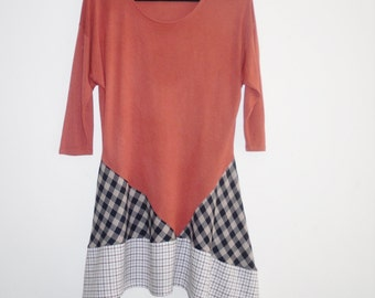 Terracotta Brown & Navy Mix Upcycled Lagenlook Tunic Top Dress S - M Plain with  Check Mix Recycled Asymmetric