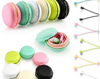 Macaron Ear Buds Headphones earbuds earphones macaroon Pink Tiffany black white cell phone music workout